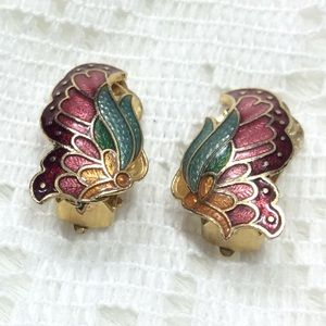Vintage Butterfly Goldtone Metal Enamel Earrings